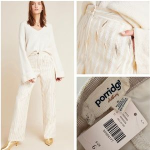 Anthropologie gold leaf stripe trousers 6